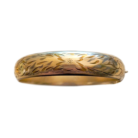 Deco Gold Fill Engraved Bangle
