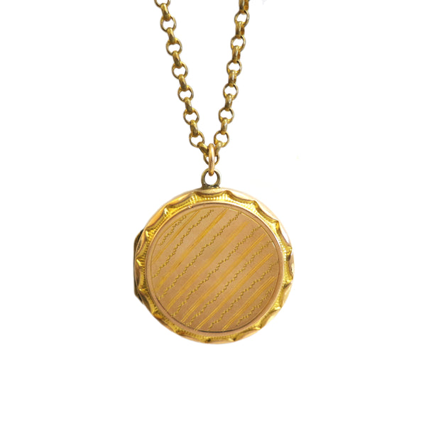 Victorian Pinstripe Locket with Antique Chain