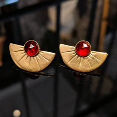 studs garnet gold silver deco fan
