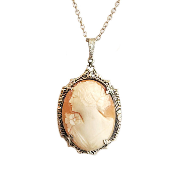 Vintage Silver Filigree Cameo Necklace