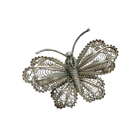 Art Deco Spanish Filigree Butterfly Brooch
