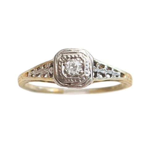 Edwardian Filigree Diamond Solitaire
