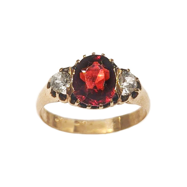 Victorian Garnet and Topaz Trio Ring
