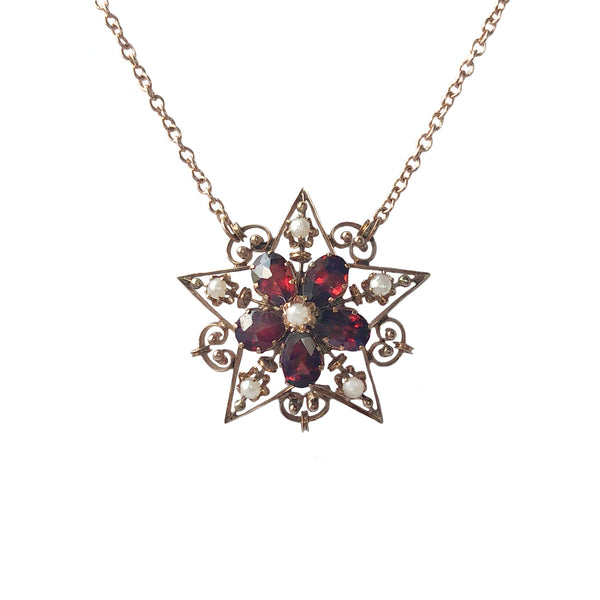 Victorian Garnet and Pearl Star Pendant