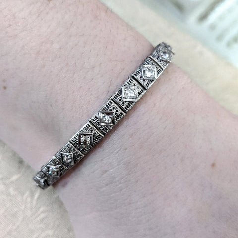 Deco Filigree and Diamond Link Bracelet