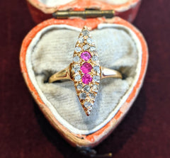 Victorian Diamond and Ruby Navette Ring