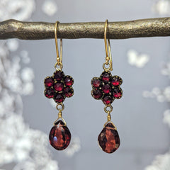 Victorian Petite Garnet Cluster Earrings