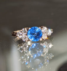 Sapphire and Diamond Trio Cluster Ring