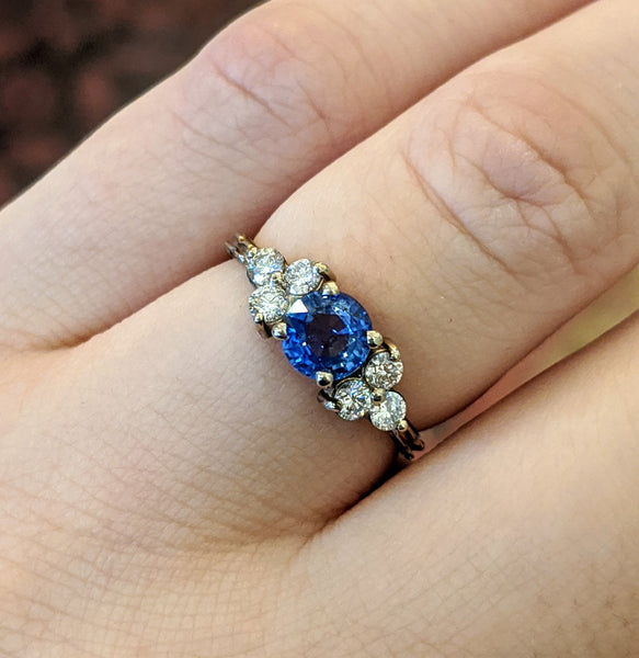 Sapphire and Diamond Trios Deco Chisel Ring