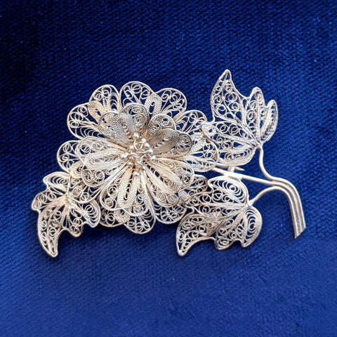 Antique Silver Filigree Flower Pin