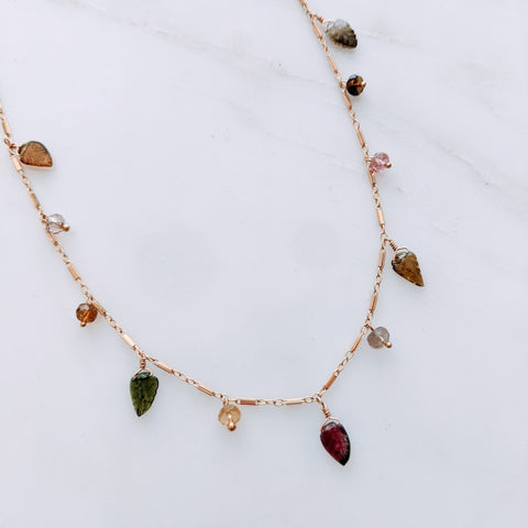 Tourmaline Leaf Simple Chain Necklace