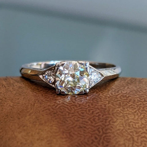 Deco Diamond Trio Engagement Ring