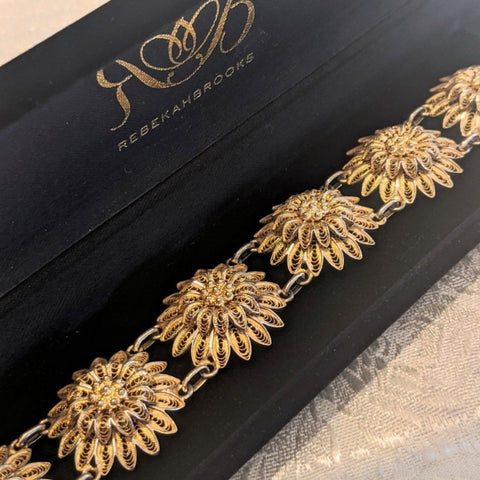 Antique Gilt Filigree Flower Bracelet