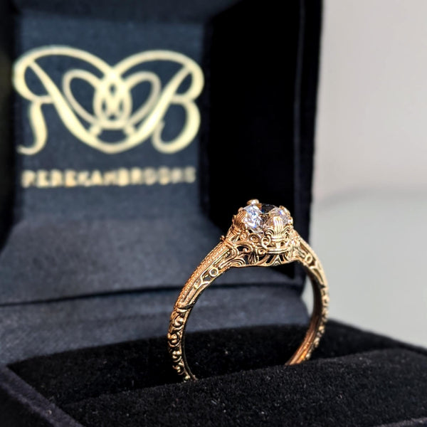 Filigree Style Moissanite Engagement Ring