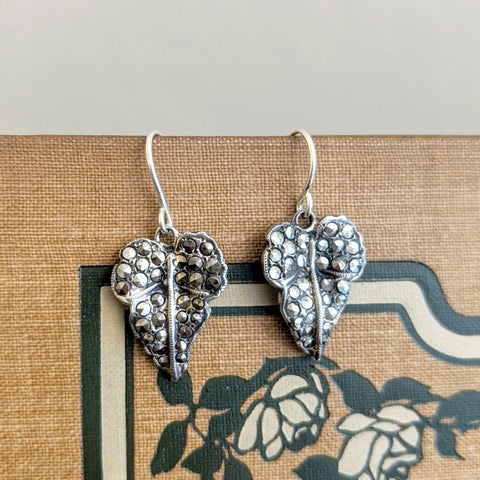 Deco Silver and Marcasite Ivy Leaf Earrings