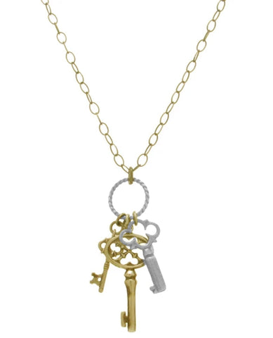 40% Off! Mixed Metal Three Key Necklace