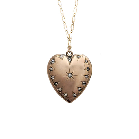 Large Victorian Heart Locket with Paste Crystals