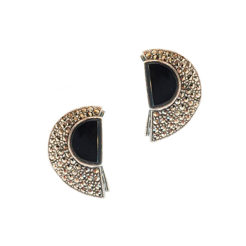 Deco Onyx and Marcasite Half Circle Studs