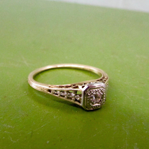 Edwardian Openwork Diamond Solitaire