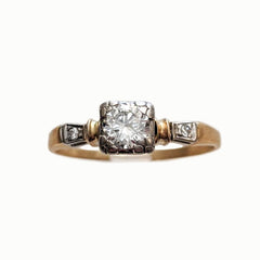 Deco Mixed Metal Illusion Diamond Solitaire