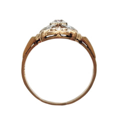 Edwardian Mixed Metal Diamond Shield Ring