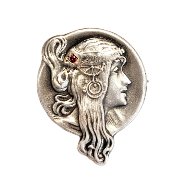 Art Nouveau Ruby Goddess Brooch
