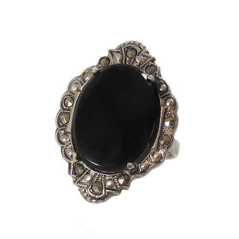 40% OFF! Deco Large Onyx and Marcasite Ring