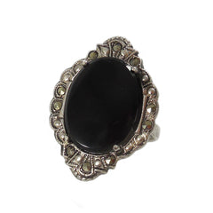 Onyx and Marcasite Ring
