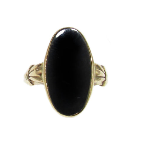Antique 10k Oval Onyx Ring