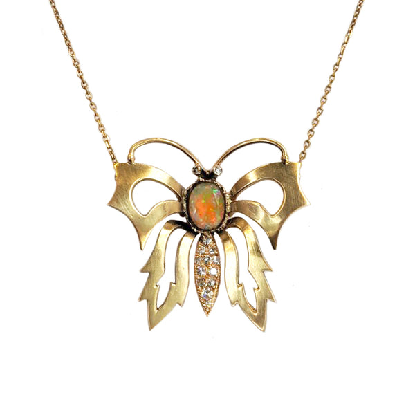 Art Nouveau Opal and Diamond Butterfly Pendant