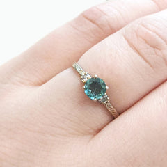 Paraiba Tourmaline and Diamond Engagement Ring