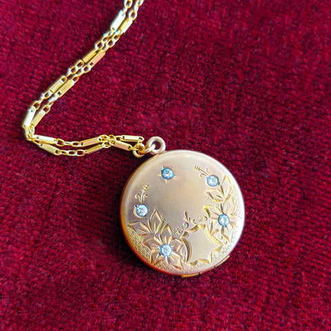 Antique Round Locket with Paste Crystals