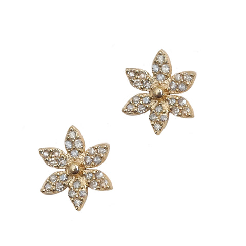 14k Pavé Diamond Flower Stud Earrings