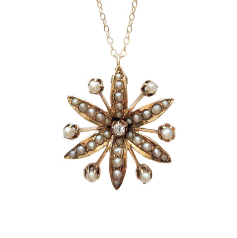 Victorian Pearl and Diamond Lily Necklace