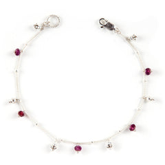 Simple Chain Bracelet with Gemstones