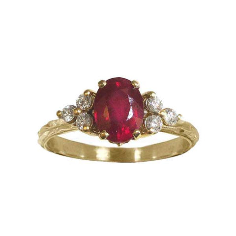 Ruby Diamond Trios Deco Chisel Ring
