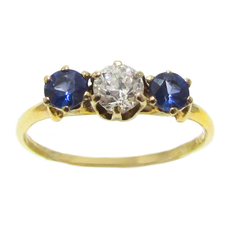 Victorian Sapphire and Diamond Trio Engagement Ring