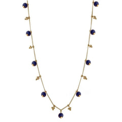 Simple Chain Necklace with Precious Gemstones
