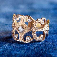 Scroll Ring with Diamonds