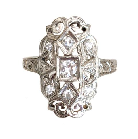 Deco Seven Diamond Shield Ring