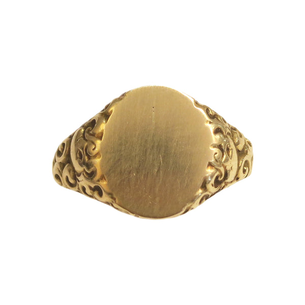 40% OFF! Victorian 14k Scrollwork Signet Ring