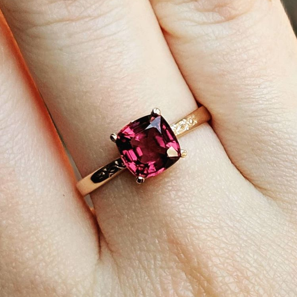 Raspberry Spinel Solitaire Ring