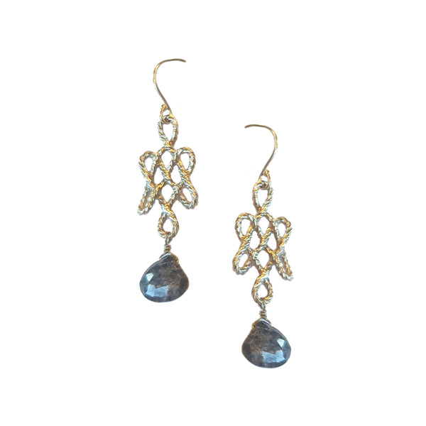 40% OFF! 14k Sapphire Knot Earrings