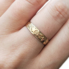 Victorian Engraved Star Wedding Band