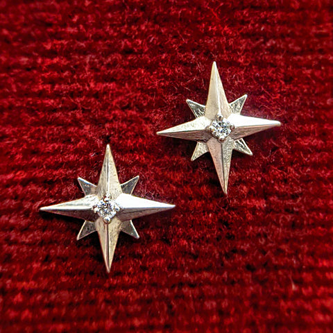 14k White Gold Starburst Studs with Diamonds