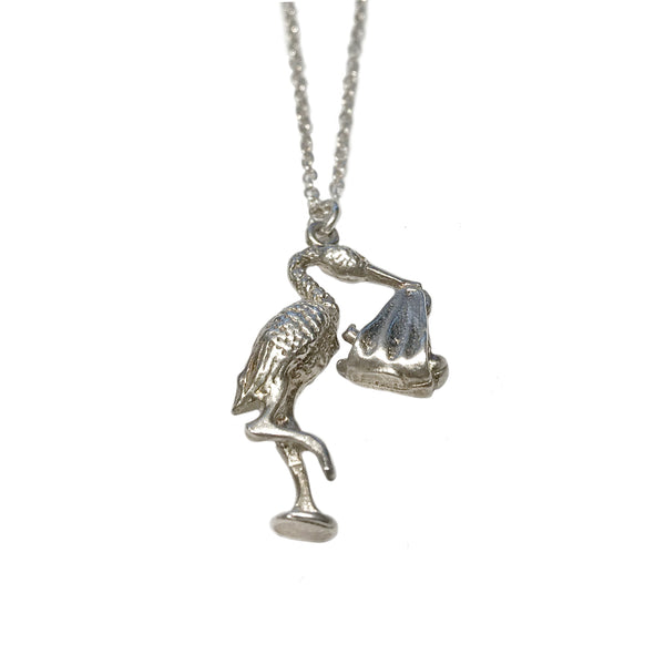 40% Off! Vintage Sterling Silver Stork with Baby Necklace