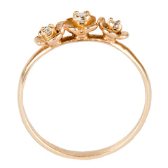 Three Flower Ring with Diamonds