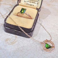 Green Tourmaline Deco Chisel Solitaire