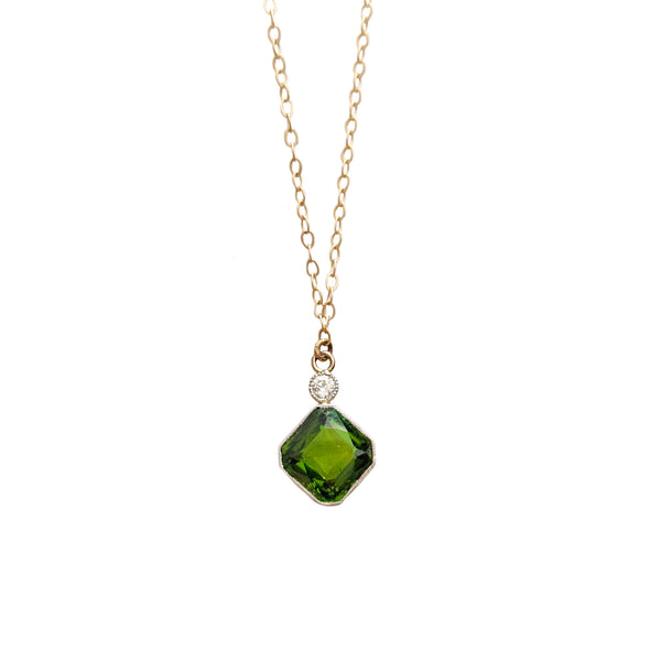 Deco Tourmaline and Diamond Necklace