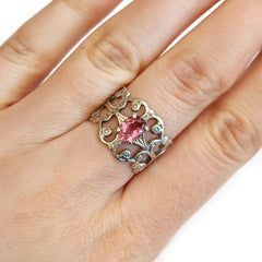 Scroll Ring with Semi-Precious Gemstone